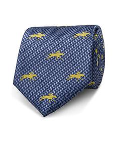 Men's Silk Tie Navy with Yellow Horse Motif