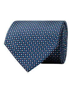 Mens Tie Navy with Blue and White Mini Checks