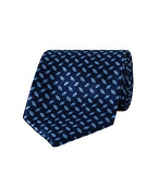 Mens Tie Navy Geo Check