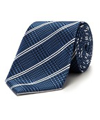 Mens Classic Tie Plaid Blue
