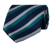 Mens Tie Navy Green Stripe