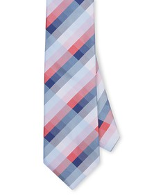Mens Tie Red Blue Navy Check