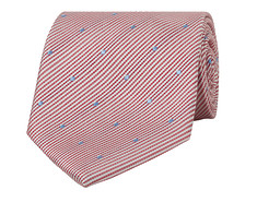 Mens Tie Red Stripe with Blue Dots
