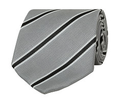 Mens Tie Silver Black Stripe