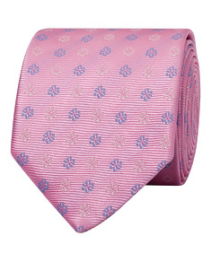 Mens Tie Pink with Purple Flower Embellishments