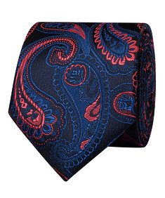 Mens Tie Black with Navy and Red Paisley