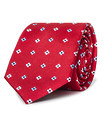 Mens Slim Tie Red with Flower Head Pattern