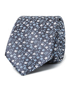 Mens Slim Tie Navy with Silver and Blue Flowers
