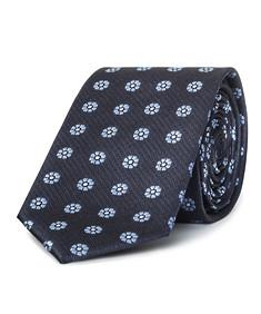 Mens Slim Tie Navy with Blue Flower Heads