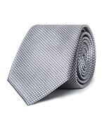 Mens Slim Tie Metallic Silver Mini Check