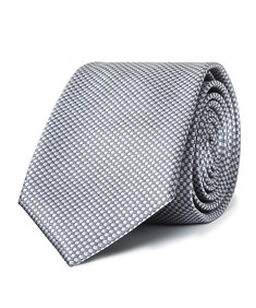 Mens Slim Tie Metallic Silver Mini Check