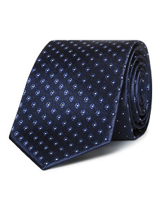 Mens Slim Tie Navy with Oval Pattern