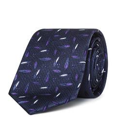 Mens Slim Tie Navy with Purple Design