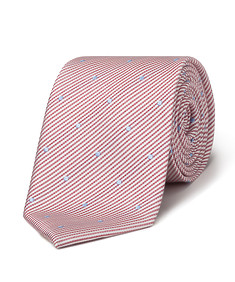Men's Tie Red and White Stripe with Spots