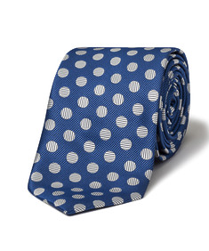 Men's Tie Blue with White Lined Spots