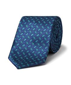 Men's Tie Green Geometric Pattern