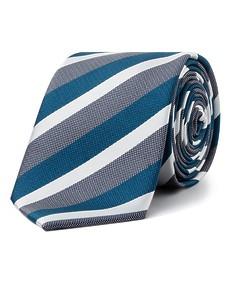 Men's Tie Teal and Silver Diagonal Stripe