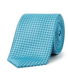 Men's Tie Teal Geo Print