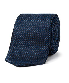 Men's Tie Black and Blue Square Dot Check