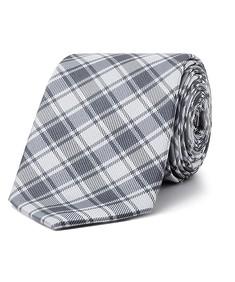 Men's Tie Silver Plaid Check
