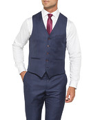 Black Label Euro Tailored Fit Suit Vest Ink with Check