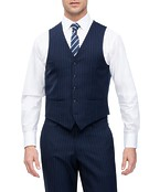 Euro Tailored Suit Vest Navy Pinstripe
