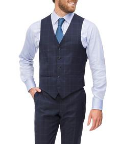 Slim Fit Suit Vest Navy Blue Window Pane Check