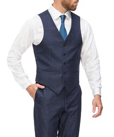 Slim Fit Vest Navy with Ox Check