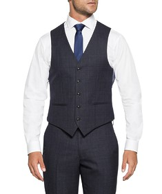 Black Label Suit Vest Ink Check