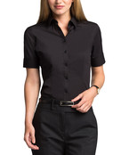 Womens Classic Fit Shirt Short Sleeve Poplin