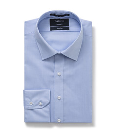 Euro Tailored Fit Shirt Blue Fine Stripe