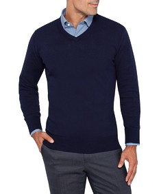 Mens Casual Knitwear V-Neck Pullover Navy