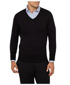 Mens Casual Knitwear V-Neck Pullover Black