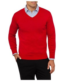 Mens Casual Knitwear V-Neck Pullover Cabernet