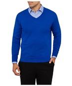 Mens Casual Knitwear V-Neck Pullover Cobolt