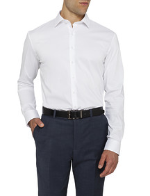 Mens Slim Fit Shirt White Stretch