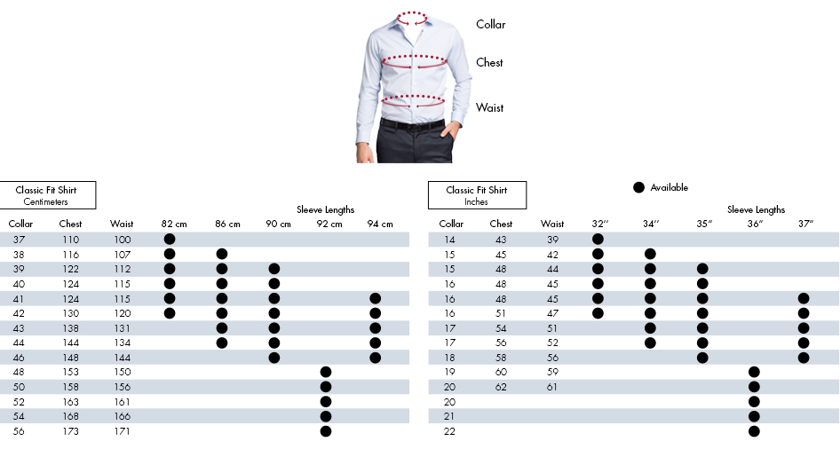 Mens shirt size conversion chart nz jumpers sale for Slim fit shirt size chart
