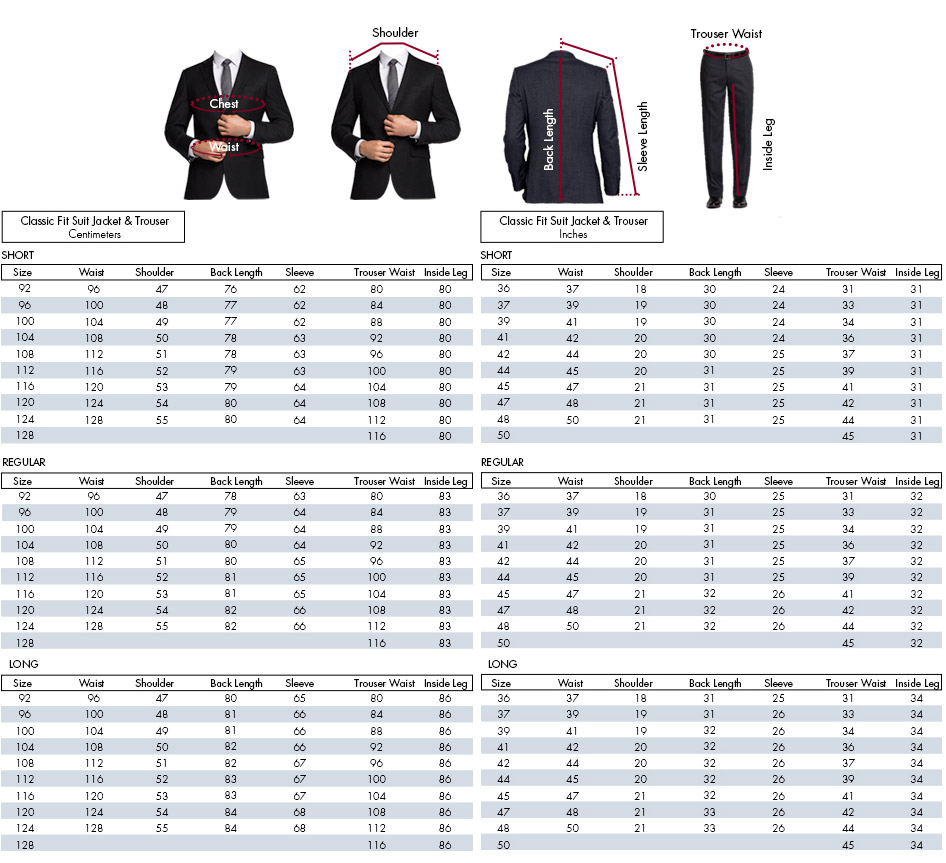 Don't know your suit or sport jacket size? View our suit sizing chart including how to measure your neck, sleeve & chest for the best suit fitment. Men's Suit Sizing Chart Moores Clothing for Men, Joseph Abboud, K&G Fashion Superstore, MW Cleaners, Twin Hill, Alexandra, Dimensions and Yaffy, and any future additions to the Tailored.