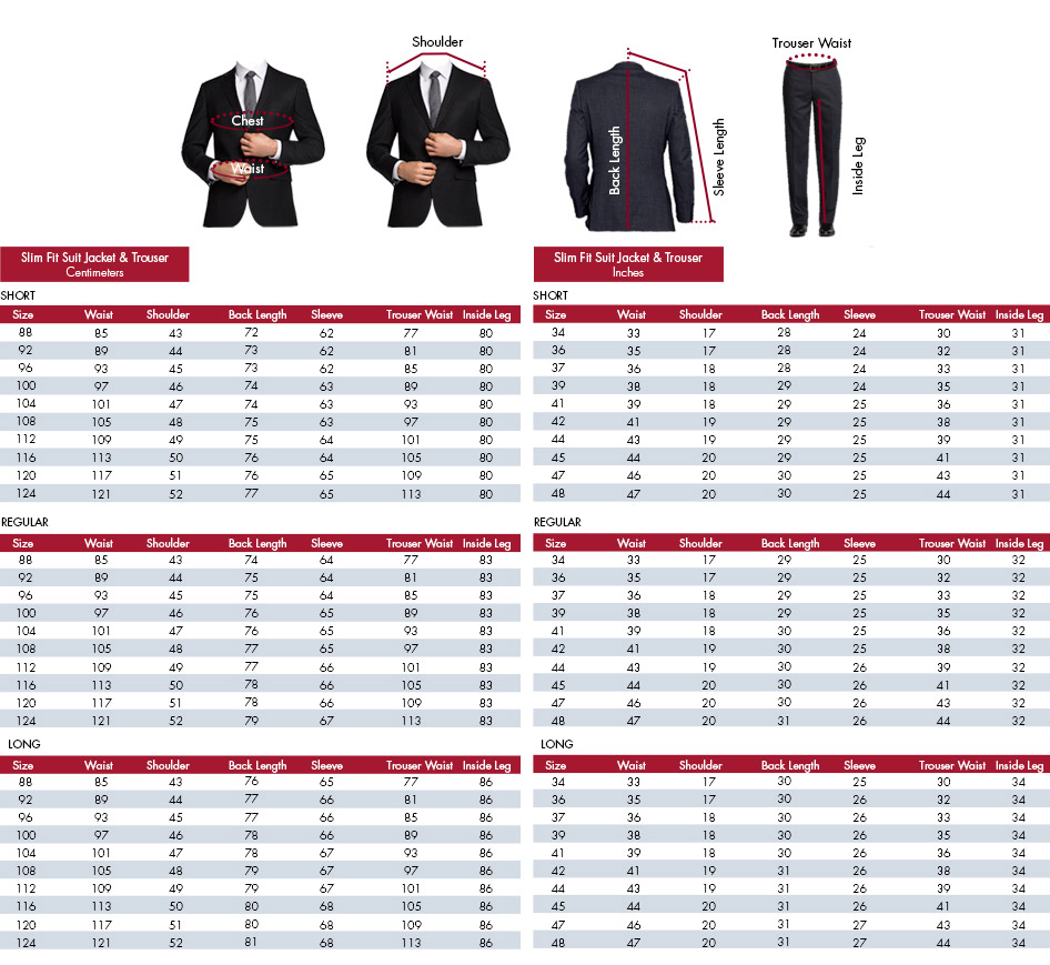Suit and sport coat sizes have one number and one descriptive word (for example, 38 short, 40 regular, 42 long). The number refers to your chest measurement, and the descriptive word refers to the length of the jacket.