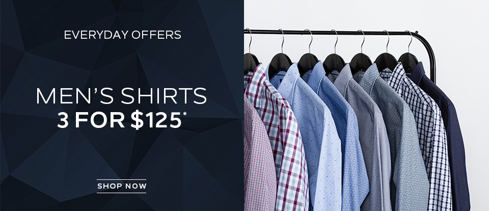 Everyday Offers: Mens Shirts 3 For $125. Shop now.