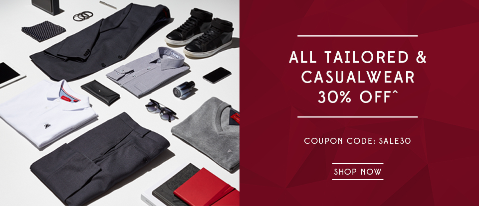 30 percent off all tailored and casualwear